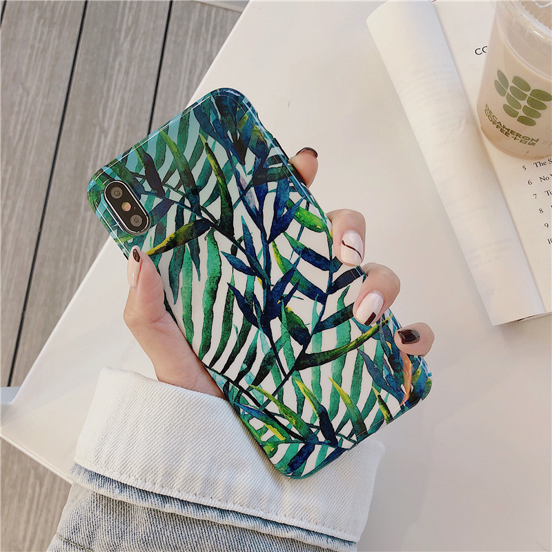 For iphone 7 Case Banana Leaf For iPhone X XR XS Max 6 6S 8 Plus Phone Case Vintage IMD Hard PC Back Cover Green Coque Fundas in Fitted Cases from Cellphones Telecommunications