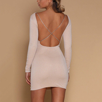 Open Back Cross Chain Dress Women Slim Pencil Dress Sexy Night Clubwear Cut Out Bodycon Party
