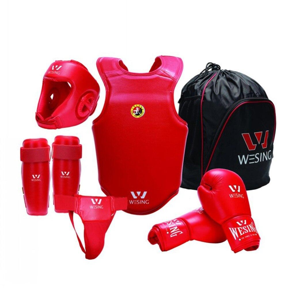 Wesing 6 шт., Wushu Sanda, защитное снаряжение для бокса, набор оборудования для бокса, детский тренировочный костюм, полная защита тела