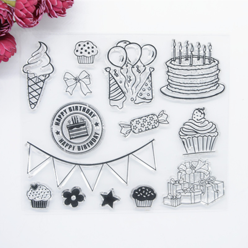 WYF829 13x15cm Happy Birthday Cake Flag Scrapbook DIY Photo Album Account Transparent Silicone Rubber Clear Stamps детская игрушка kings gift diy 30pcs scp005 829