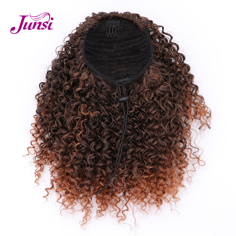 JUNSI Afro Short Curly Drawstring Ponytail Synthetic Ponytail Hair Extensions for Women
