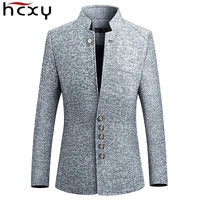 HCXY Blazer Men 2019 spring New Chinese style Business Casual Stand Collar Male Blazer Slim Fit Mens Blazer Jacket Size M 5XL