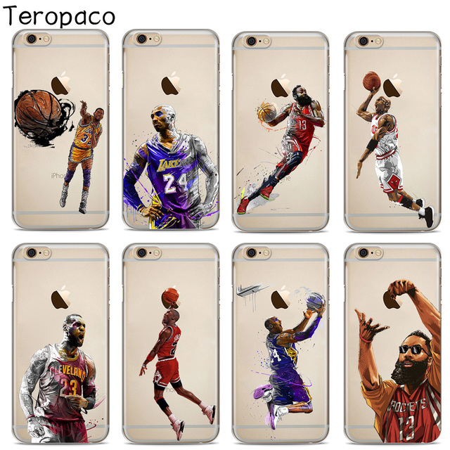 best website fc93b fd5bf US $0.99 19% OFF|Sport NBA Basketball Soft Silicone Phone Case Cover For  Apple iphone X XS Max XR 7 7Plus 8 8Plus 6S 6Plus 5S SE-in Fitted Cases  from ...