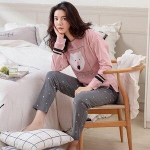 Image 1 - Automne hiver femmes Pyjamas coton vêtements longs hauts ensemble femme Pyjamas ensembles nuit costume vêtements de nuit femmes maison vêtements dames ensemble