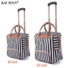 Saco de fim de semana das mulheres trole bagagem rolando mala marca casual listras rolando caso saco de viagem sobre rodas carry ons mala