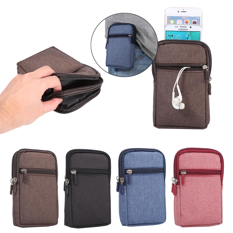 """4 цвета двойной карабин карманы мешок для мульти модель телефона крюк петля ремня сумка кобура Сумка для всех смартфонов 6.3 """"ниже"""