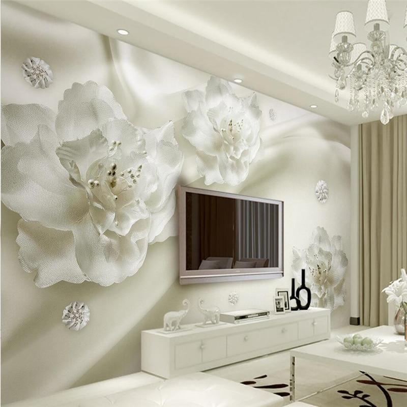 Купить с кэшбэком beibehang Custom Photo Wallpaper 3D Mural Aesthetic Light Luxury Silk Flowers European Style 3d TV Walls papel de parede
