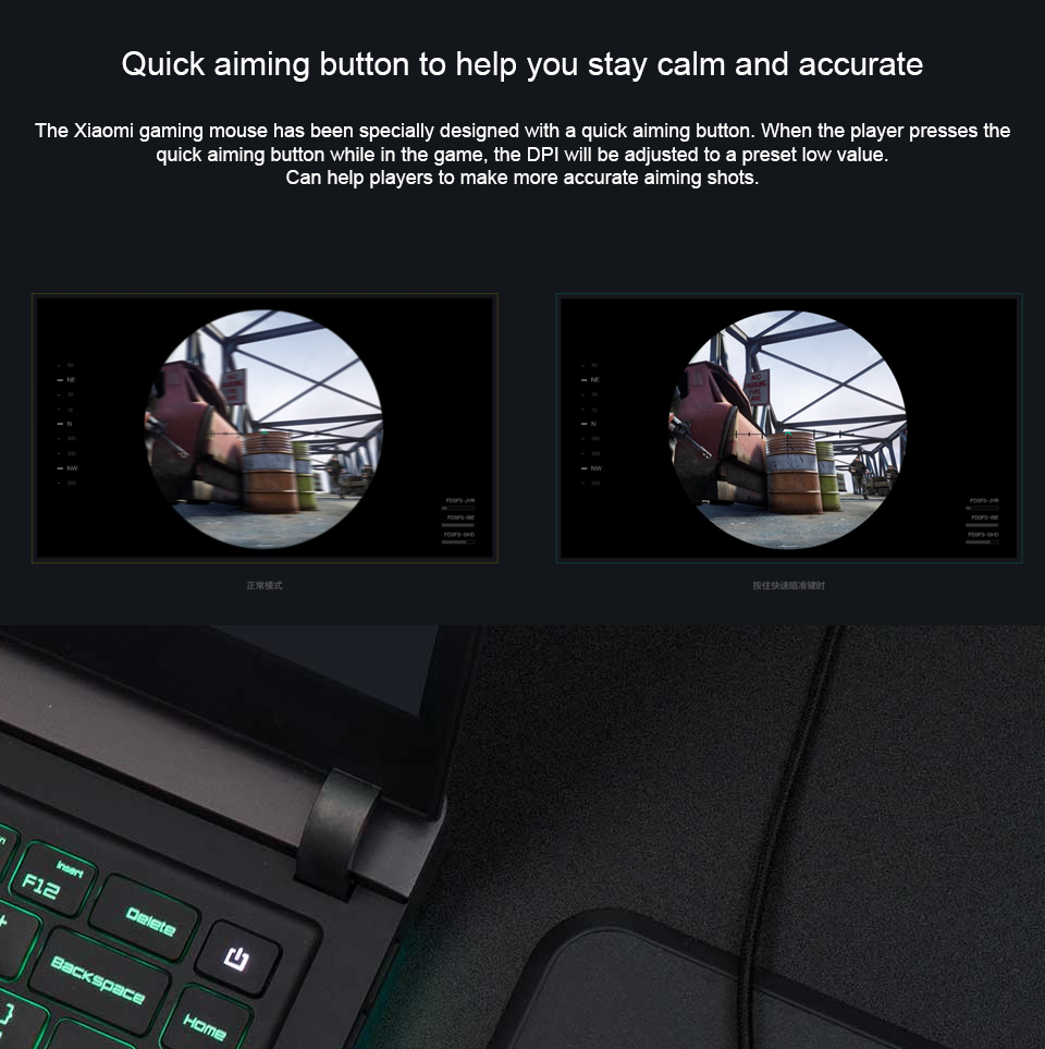 Original Xiaomi Game Mouse Portable Usb/Wireless 2 4GHz Dual Mode 7200Dpi 6  Button RGB Led Gaming Mouse MacOS Windows Gamer Mice