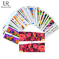 50Sheets Mixed Flower Designs Full Wraps Nail Art Water Transfer Stickers Nail Tips Decals Beauty Manicure Decor Tool STZ086-133