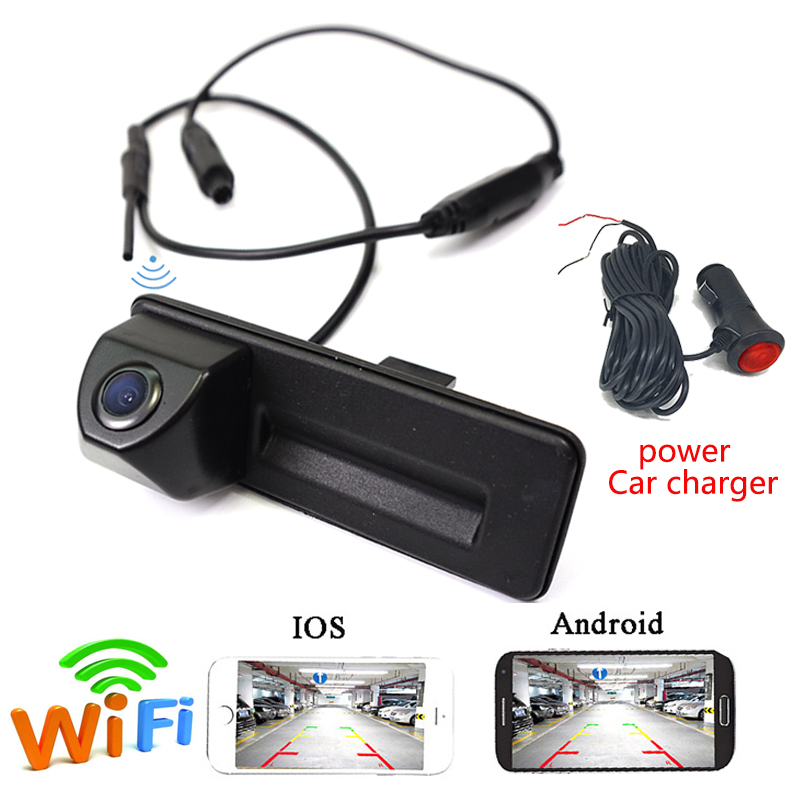 APP WIFI car rear camera wireless for Skoda Roomster Fabia Octavia Yeti  superb for Audi A1Power Plug for Android IOS Device