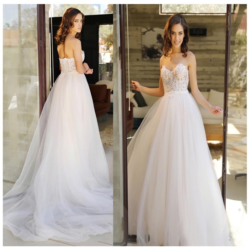 LORIE Strapless Wedding Dress Backless White Beach Wedding Gowns Appliques Lace Sweetheart Princess Bride Dress Free Shipping