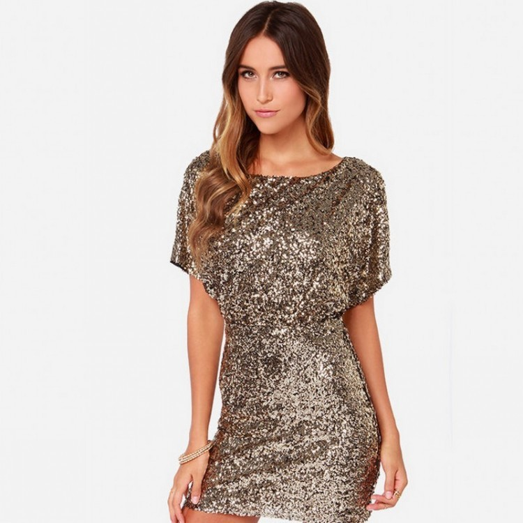 Vintage Gold Color Scoop Neck   Cocktail     Dresses   Sequined Short Sleeves Mini Robe   Cocktail   Ladies Fashion vestidos coctel mujer