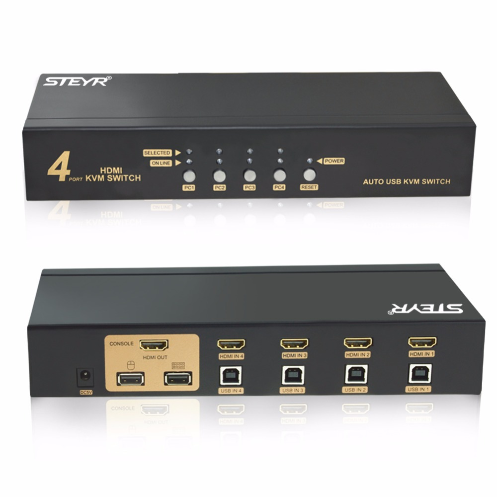 STEYR HDMI KVM Switch 4X1, 4 Port USB HDMI KVM Switch USB 2.0 4 in 1 out Hotkey Support for PC Monitor Keyboard Mouse mouse keyboard penetrator file data sharer clipboard sharing 1 km set control 2 host pc linker kvm switch without vga usb gadget