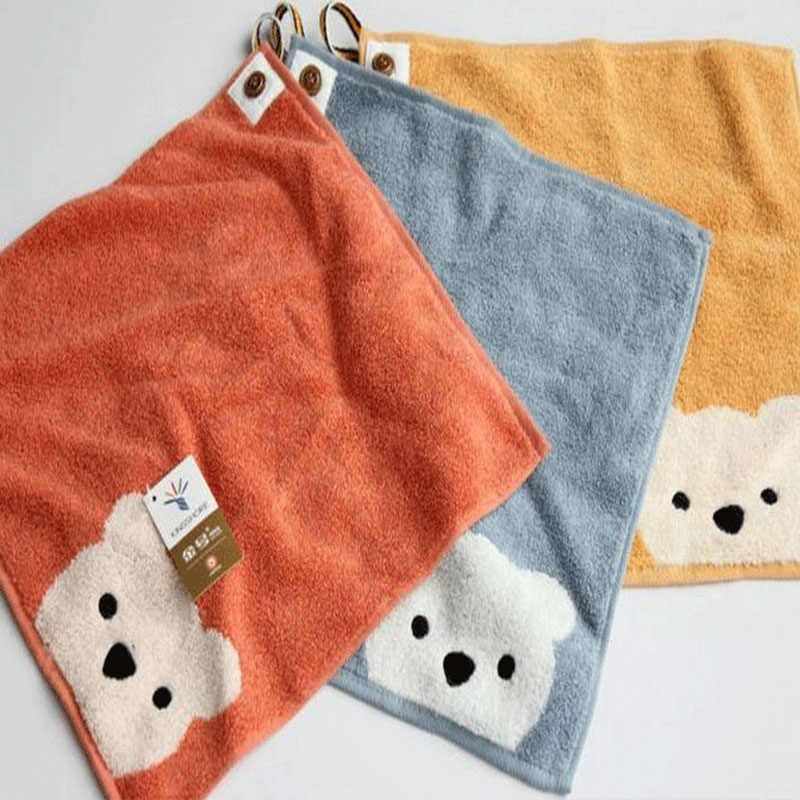 Childern Towels Boys Girls Kindergarten Cartoon Bear Pattern Hangable Hand Towel Cotton Baby Face Towel Kids Beathroom Products