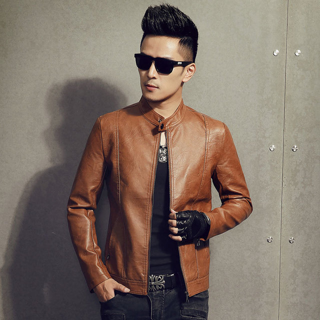 Men 's jacket casual jacket men' s pu leather fashion men 's fashion