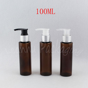 100ML Brown Plastic Bottle With Silver Lotion Pump , 100CC Lotion / Shampoo Sub-bottling , Empty Cosmetic Container