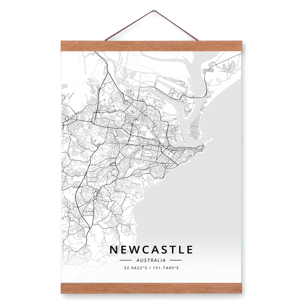 Australia Map Newcastle.Us 12 02 32 Off Newcastle Australia City Map Wooden Framed Canvas Painting Home Decor Wall Art Print Pictures Poster Hanger In Painting