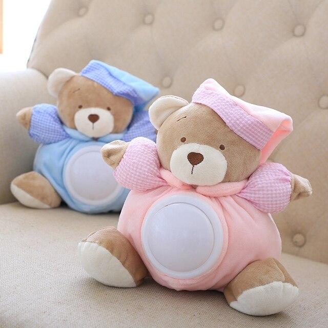 25 cm Kawaii oso de peluche luz Musical muñecas de peluche lámpara de palmada comodidad para dormir LED luz de noche Appease oso juguetes para regalos para los niños