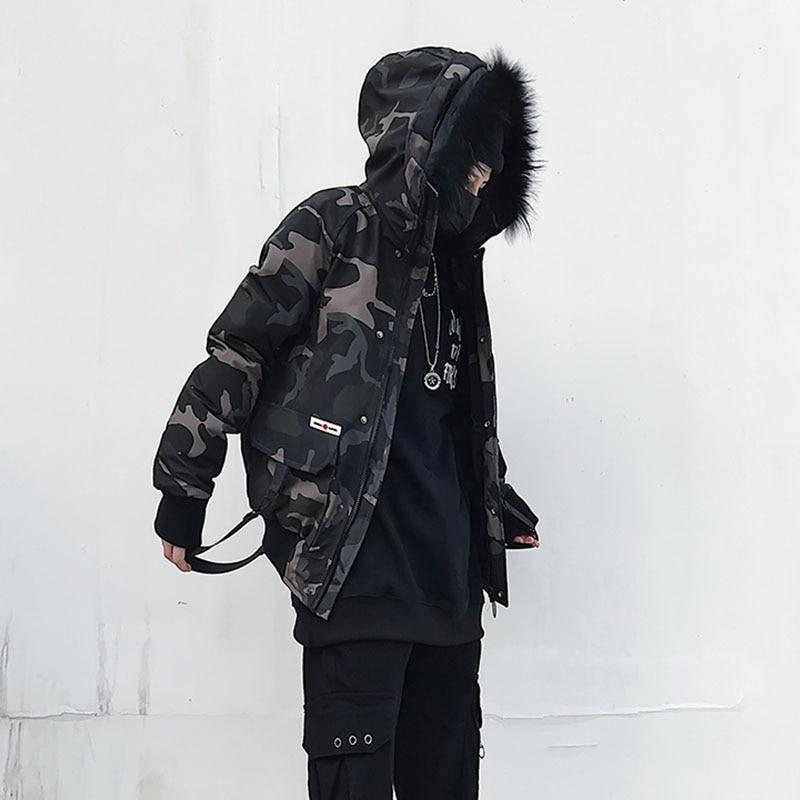 Nowe pomysły na produkty Faux futro wyściełane Parka kurtka męska Hip Hop z kapturem moda kamuflaż parki kamuflaż rozmiar US w Kurtki od Odzież męska na  Grupa 1