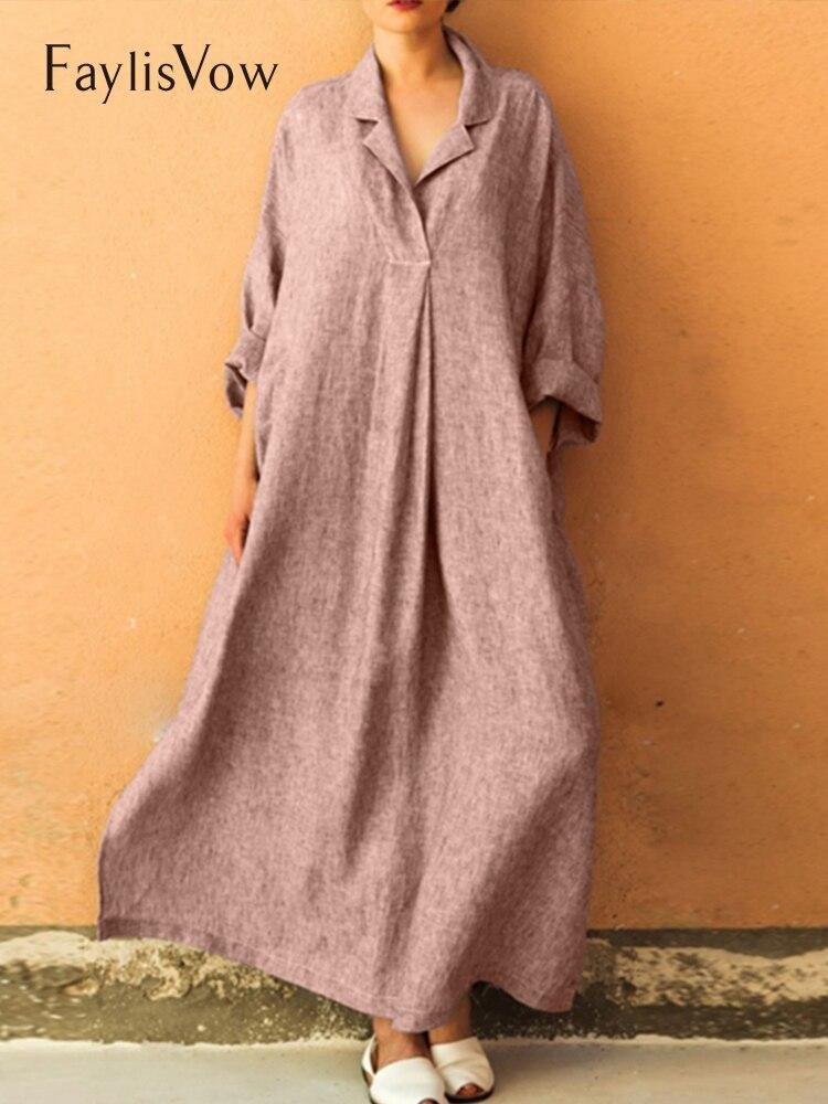 Simple Women Boho Long Sleeve Baggy Linen Maxi Dress Solid Color Shirt Dress