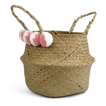Storage Basket Handmade Woven Wicker Flower Collapsible Laundry Straw Patchwork Rattan  Flowerpot