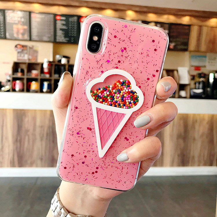 3D Dynamic Pink Ice Cream Phone Case for Iphone 6 Case 6 Plus Lovely Liquid Quicksand Phone Cover For IPhone...  iphone x cases 3d  font b 3D b font Dynamic Pink Ice Cream Phone font b Case b font