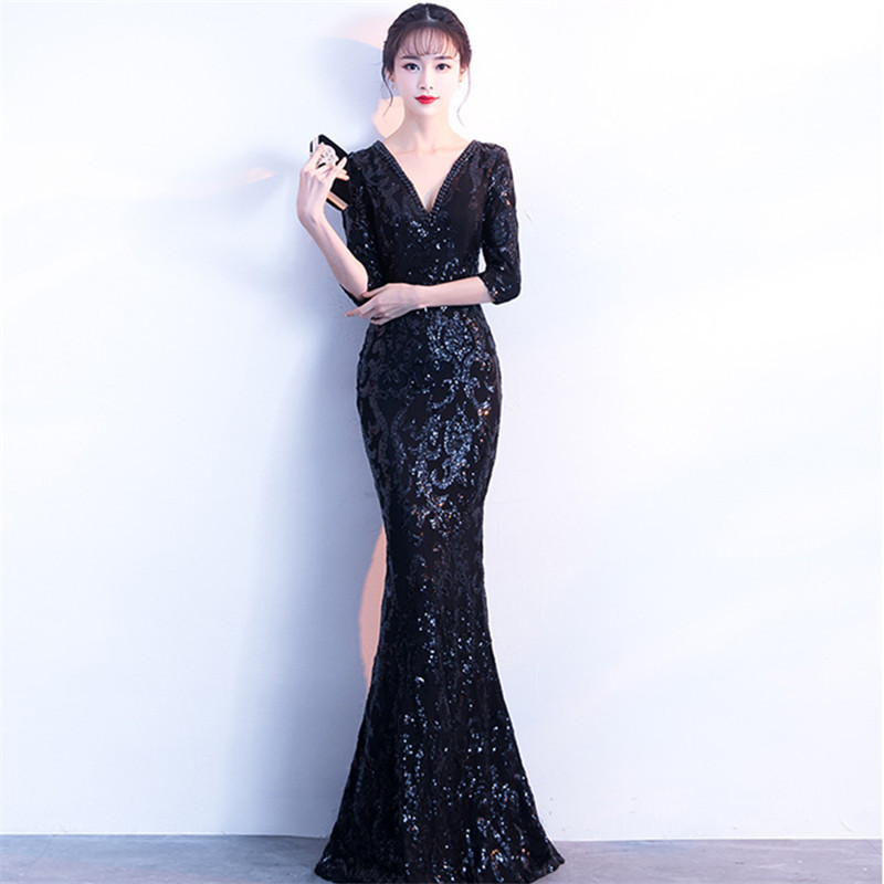 It 39 s Yiiya Evening Dresses Sequined V neck Half sleeves Party gowns Royal Crystal Formal zipper back Mermaid Prom dress C185 in Evening Dresses from Weddings amp Events