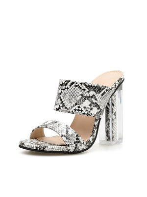 European and American fashion crystal with open toe fish mouth snake pattern sandals large size high heels women's shoes
