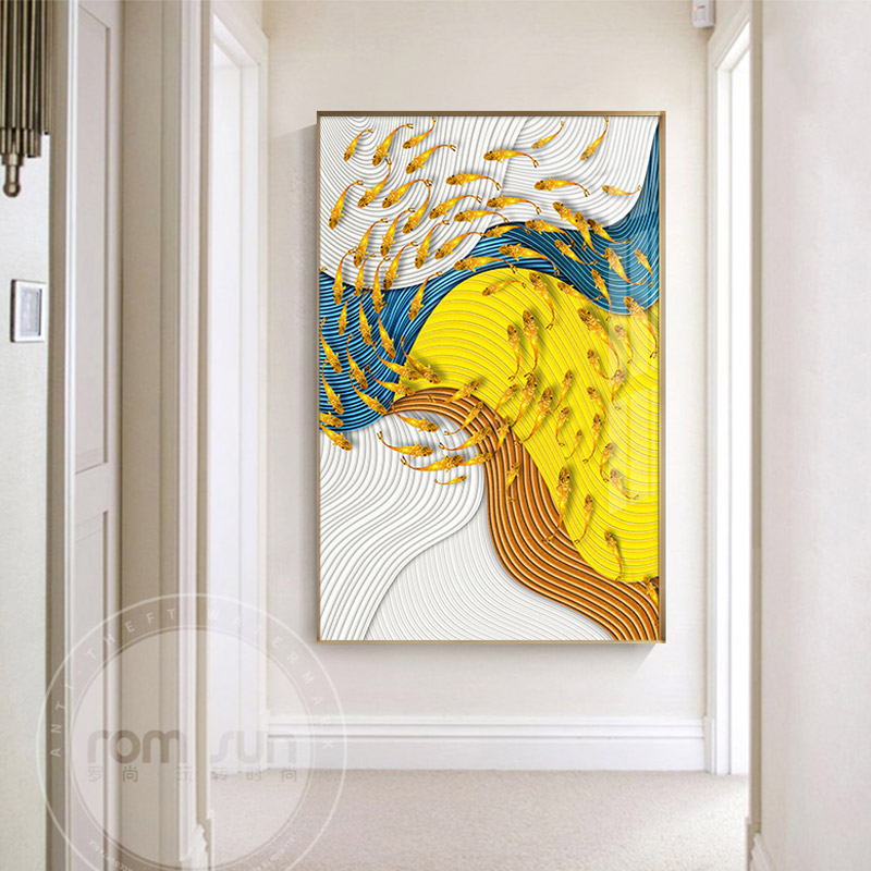 Us 2 66 30 Off Abstract Golden Fish Birds Canvas Art Modern Painting Poster Print For Living Room Aisle Entrance Fashion Artistic Wall Decor In