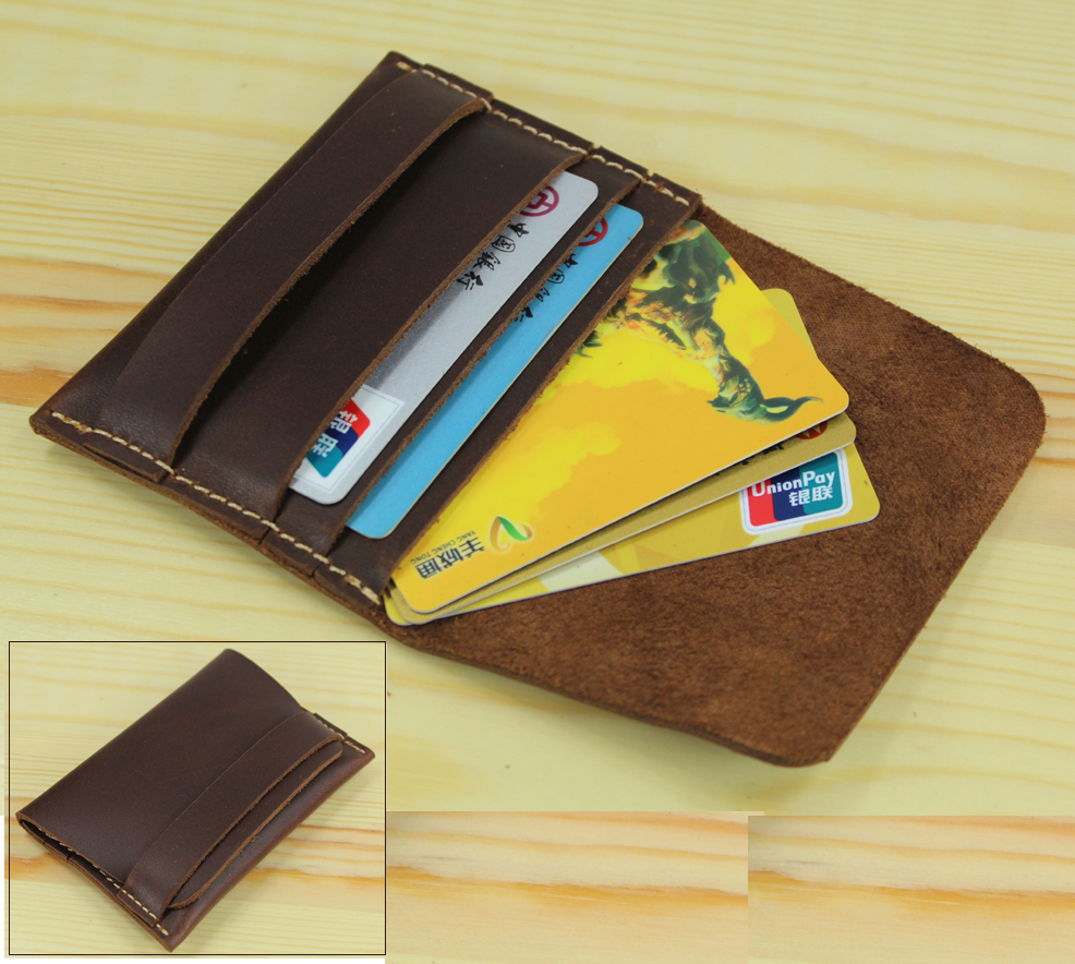 Handmade Genuine Leather Card Holder case Card ID Holder men ...