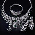 Beauty Luxury Women Wedding Jewelry Set AAA Cubic Zirconia Necklace Earrings Bangle & Ring Gold Plated Lead Free