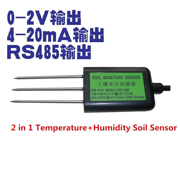 2PCS/LOT 2 in 1 Temperature+Humidity Soil Sensor 0-2V 4-20MA RS485 Soil Moisture Sensor / Soil temperature and Humidity Sensor2PCS/LOT 2 in 1 Temperature+Humidity Soil Sensor 0-2V 4-20MA RS485 Soil Moisture Sensor / Soil temperature and Humidity Sensor