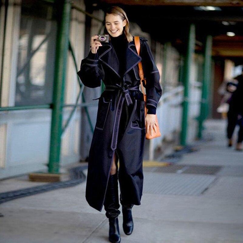 عالية الجودة أحدث 2019 مصمم خندق المرأة موجز عارضة طويلة خندق معطف-في معطف مبطن من ملابس نسائية على  مجموعة 1