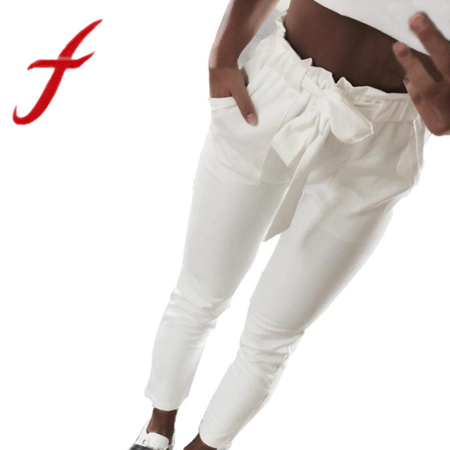 Women pants solid color ladies high waist harem pants bowtie elastic waist  casual pants streetwear trousers 2018 new