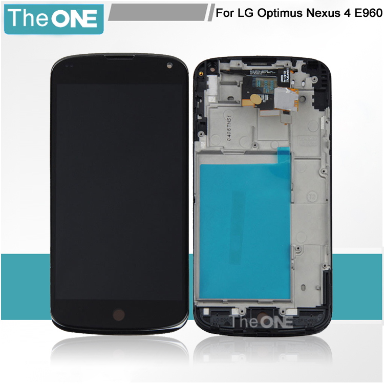 Replacement LCD Display Touch Digitizer Screen With Frame Assembly For LG Nexus 4 E960 Free shipping new lcd touch screen digitizer with frame assembly for lg google nexus 5 d820 d821 free shipping