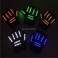 Newstyle 6 Color Party Diy Decorative Led Gloves Holiday Lights EL Fluorescent Halloween Gloves for Glow In Dark Party Supplies