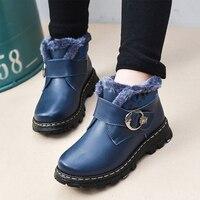 JACKSHIBO Winter New Children Snow Boots Genuine Leather Shoes Boy Buckle Anti Skid Boots Winter Warm