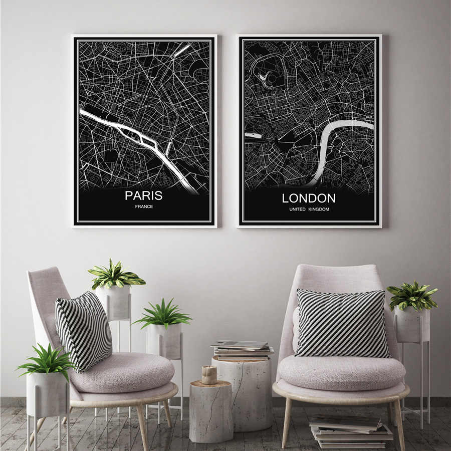 Aangepaste Wereldkaart LIVERPOOL Moderne Stad Poster Abstract Print Canvas Gecoat Papier Olieverf Woonkamer Cafe bar Decor