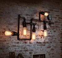 Американский Винтаж промышленных водопровод бра inon абажур бра бар Кофе светильники Домашний Декор Apliques сравнению E27