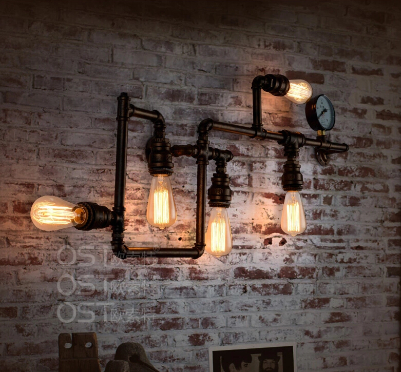 American Vintage Industrial Water Pipe Wall Lamp Inon Lampshade Sconce  Bar Coffee Light Fixtures Home Decor Apliques Pared E27