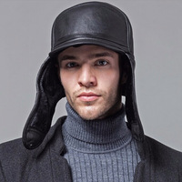 Wholesale New 2017 Winter Hats For Men Leather Warm Fur Hat Aviator Cap With Ear Flaps Russian Caps Leifeng Beanies Hot Sell