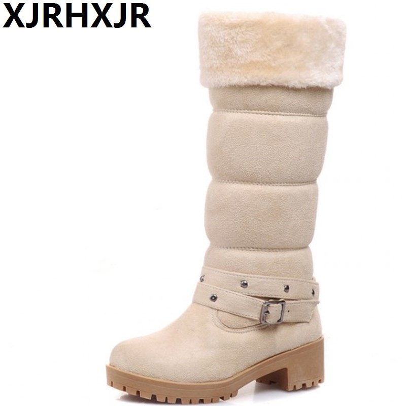 XJRHXJR Sweet Fur Warm Boots Women Knee High Snow Boots Fashion Buckle Long Boots Autumn Winter Plush Shoes Big Size 34-43 fashion keep warm winter women boots snow boots 2017 buckle cotton boots women boots shoes