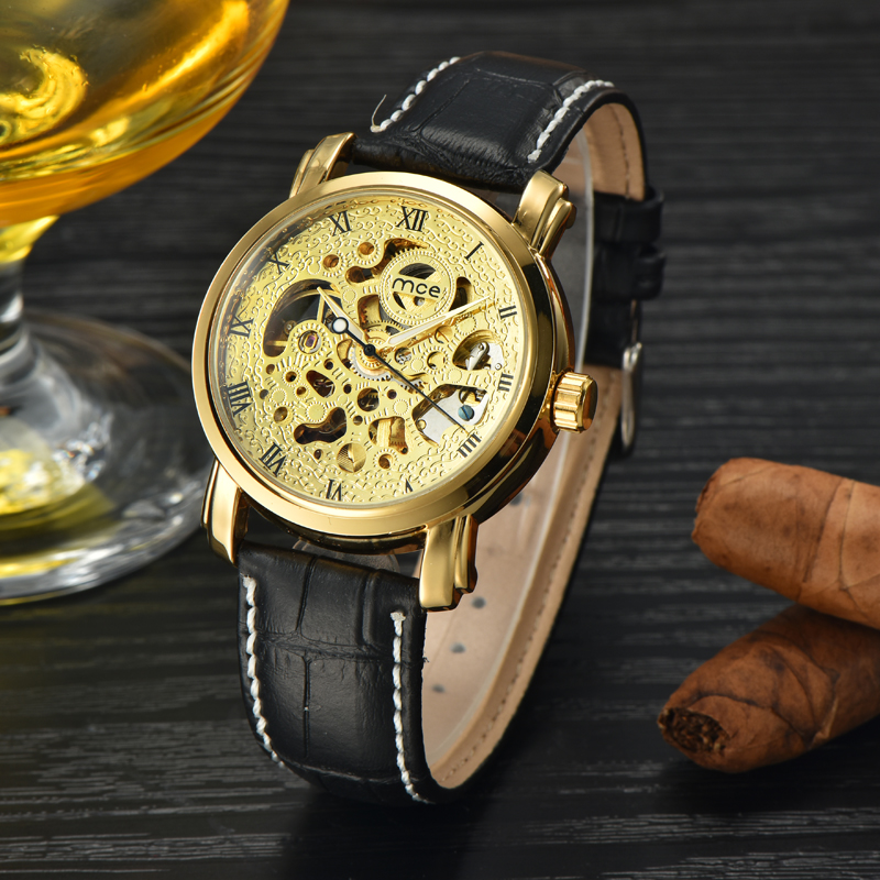 Top Brand Luxury MCE Watch Men Automatic Skeleton Mechanical Watches Gold Leather Business Wrist watch Relojes Hombre 2017 2016 wilon fashion brand top quality luxury automatic watch male skeleton mechanical watch relojes hombre marca famosa