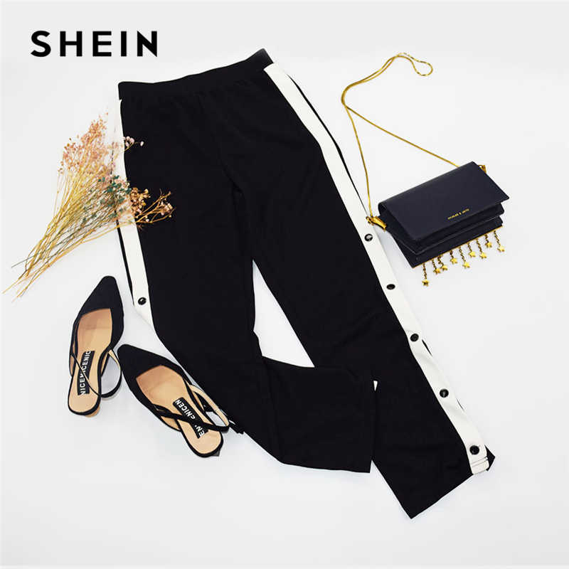 22d5389a27aec2 ... SHEIN Black Colorblock Contrast Snap Button Side Pants Casual High  Waist Crop Trousers Women Autumn Stretchy ...