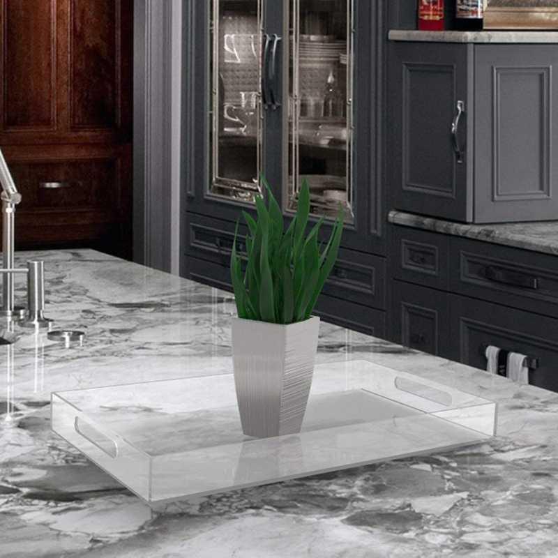 Поднос для посуды, изготовленный из акрила для кофейного столика, завтрака, посуды
