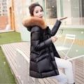 Pato branco para baixo parkas jaqueta de inverno mulheres casaco de pele real para as mulheres roupas de inverno grandes bolsos das mulheres para baixo casacos de inverno F818