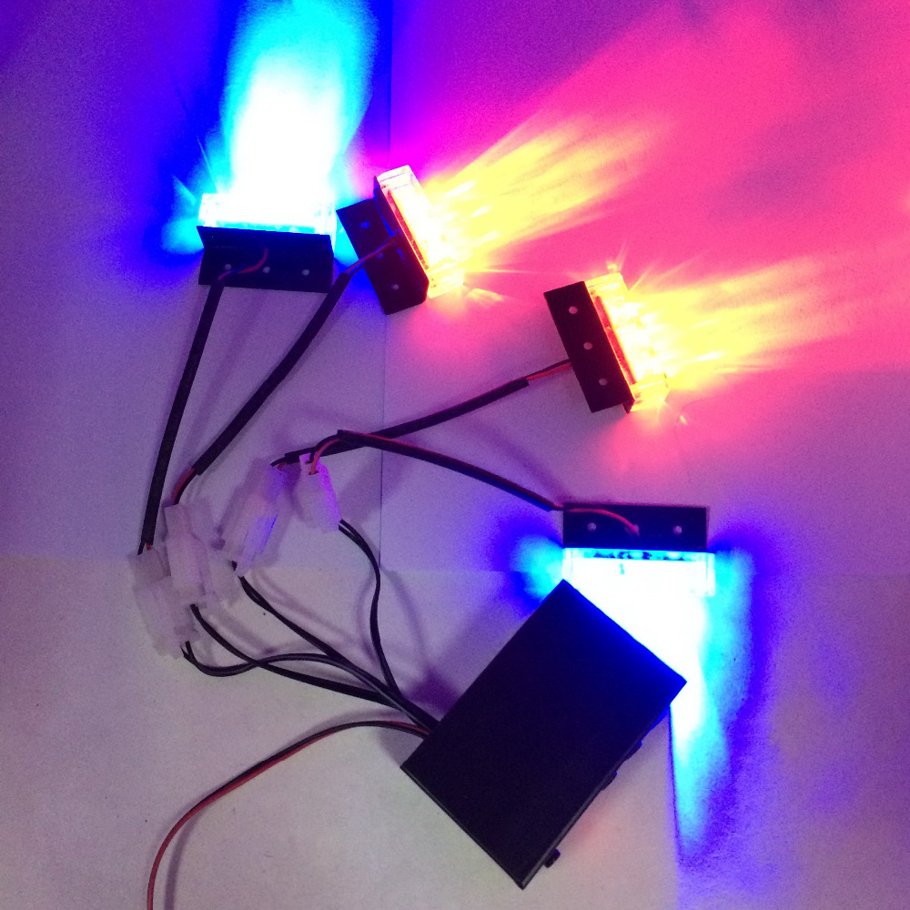 Police Style Car 12V 12-LED Red/Blue Stroboscopic Light with 3-Mode Controller police style car dc 12v 96 led red blue stroboscopic light with 3 mode controller