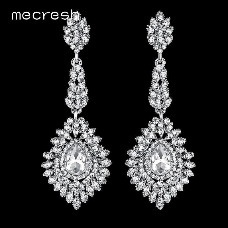 Mecresh Fashion Teardrop Esküvői fülbevaló a nők kék / ezüst / fekete színű kristály menyasszonyi hosszú dangle fülbevaló ékszerek EH192