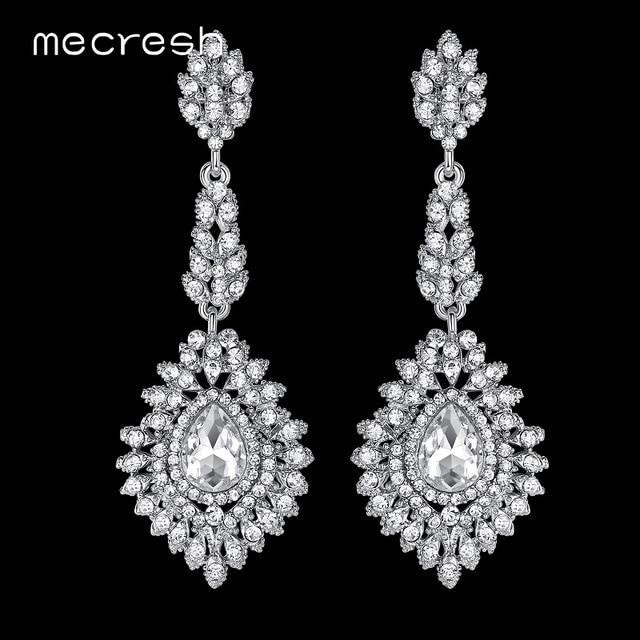 Mecresh Fashion Teardrop Wedding Earrings For Women Blue Silver Black Color Crystal Bridal Long