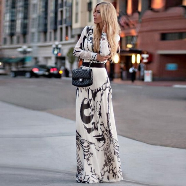 Spring long sleeve maxi dresses